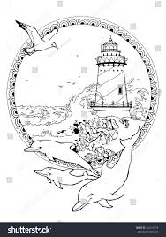 coloring page adults lighthouse seagulls dolphins stock vector