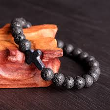 cross stone bracelet images Cross lava rock stone beads elastic men bracelet at banggood JPG