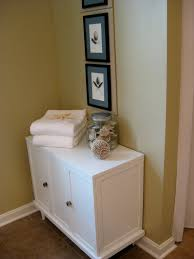 Bathroom Drawer Cabinet Bathroom White Stained Wooden High Storage Cabinet Drawers Using