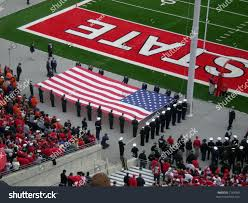 Ohios State Flag Raising Flag Before Ohio State Football Stock Photo 7163059