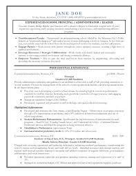 Administration Resume Samples Pdf by Resume Principal Resume