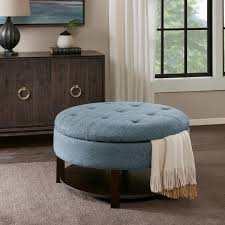 madison park storage ottoman madison park javier denim morocco round storage ottoman free