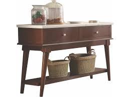 acme 72823 gasha walnut finish wood and white marble top sideboard