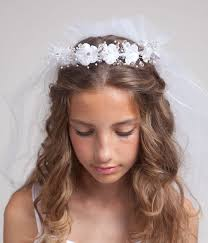 communion hair accessories communion veil with silk flowers tiara by elitedresses