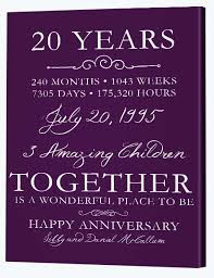 20 years anniversary gifts 20th wedding anniversary gifts canvas factory