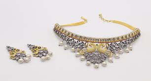 gold plated choker necklace images Gold plated choker necklace set for women with earrings jpg