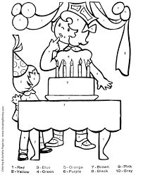 coloring numbers pages birthday party cake numbers coloring