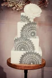cake inspiration white and grey lace wedding cake