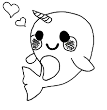 Cute Baby Narwhal Coloring Page Netart Cut Coloring Pages