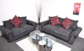 Black Fabric Sofa Sets Black And Red Fabric 3 2 Sofa Set Suite