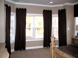 Bathroom Bay Window Bay Window Double Curtain Rod Bathroom With Black Vanity