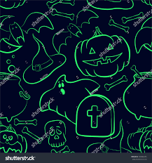 halloween ghost pumpkin vector outline seamless pattern halloween bright stock vector