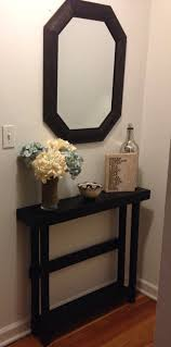 Entry Console Table With Mirror Furniture Black Painted Wooden Entryway Table Combined Octagon