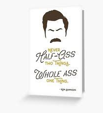 ron swanson greeting cards redbubble