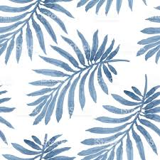 vector seamless floral pattern from blue palm leaf silhouette with