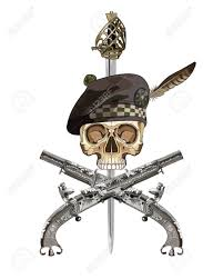 Scottish Pirate Flag Two Scottish Flintlock Pistol And Skull In The Scottish Balmoral