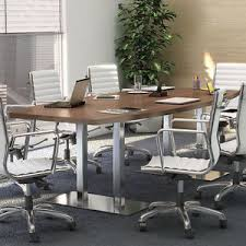 Modern Meeting Table 8 20 Ft Conference Table And Chairs Set With Metal Base Modern
