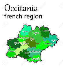 map of perpignan region occitania region map on white in vector royalty free
