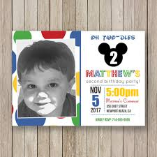 mickey mouse inspired birthday invitations polka dot boy