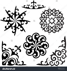 set kazakh asian ornaments patterns stock vector 361299920