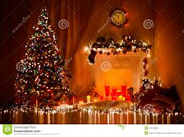 christmas tree fireplace lights decorated xmas living room night