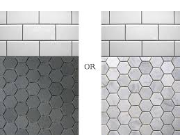down the bathroom floor tile selection to these two marble hex