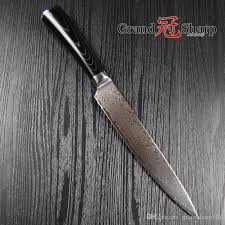 japanese damascus kitchen knives grandsharp 8 inch slicing carving knife 67 layers japanese