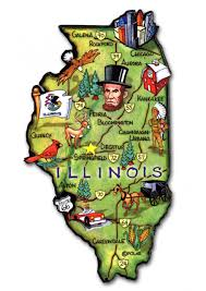 Illinois State Map Illinois State Magnet Artwood Classicmagnets Com