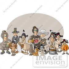 pilgrims dogs and american indians on thanksgiving clipart