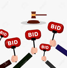 bid auction auction and bidding concept holding auction paddle