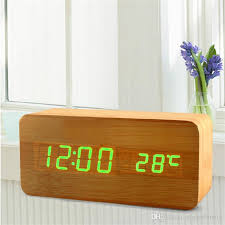 t harger horloge de bureau cube wooden led alarm clock led display electronic desktop digital