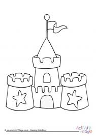 Seaside Colouring Pages Sandcastle Coloring Page