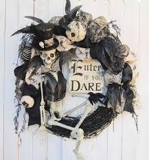 skeletons halloween steampunk skeleton halloween wreath enter if you dare halloween