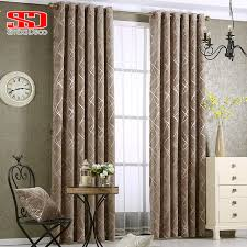 Luxury Grey Curtains Chenille Jacquard Silver Blackout Curtains For Bedroom Modern
