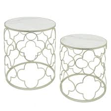 set of three end tables three hands 22 75 in silver metal marble top table set of 2 64393