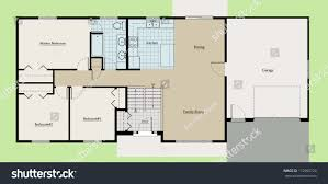 split level house floor plan colored stock illustration 112905724