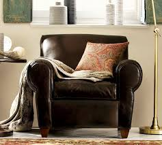 Club Chairs For Living Room Manhattan Leather Armchair Pottery Barn