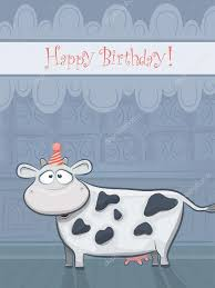 Cow Birthday Card Animal Cards Series Vector Birthday Card With Funny Cow Stock