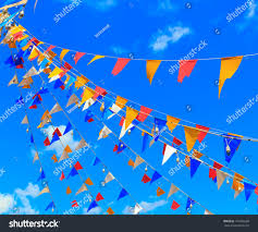 Decorative Sports Flags Colorful Small Triangular Decorative Flags Pennons Stock Photo