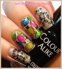 nail art stamping mania christmas lights manicure with uberchic