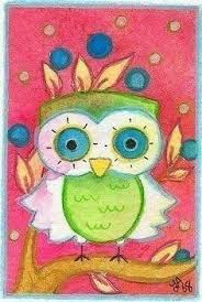 on sale the quiet one original owl watercolor painting 4x6