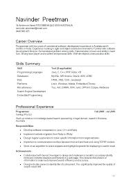 Job Experience Resume by Cv Examples Education Job