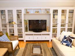 Tv Unit Designs For Living Room Living Room With Built In Storage Cabinets Glass Doors
