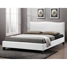 battersby white modern bed with upholstered headboard free