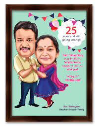 25th anniversary gifts for parents 25th wedding anniversary personalized caricature gift for parents