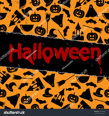 halloween background orange halloween backgroundhalloween black symbols on orange stock vector
