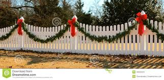 Decorative Garlands Home by Wreath On Fence Decorated For Christmas Stock Photo Image 48200378