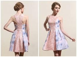 robe de mariã e bleu turquoise robe de bal courte bicolore en dentelle tissu imprimé fleur
