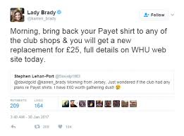 Offer For Shops by West Ham Give Fans Exchange Offer For Unwanted Payet Kits Daily