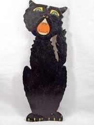 vintage biestle die cut embossed halloween black cat decoration